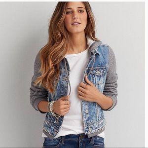 American Eagle Hooded Jersey Knit Jean Jacket SZ S